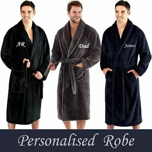 PERSONALISED Mens SUPER SOFT Shawl Collar Dressing Gown Robe Bathrobe - GIFT