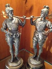 "RARE VINTAGE METAL SPELTER CONQUISTADOR STATUE SET OF 2 VERY HEAVY 15""  TALL"