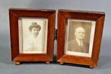 1920s Art Deco Photo Picture Portrait CDV double folding wooden frame ball feet