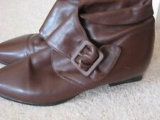 WOMEN'S K SHOES CLARK'S BROWN LEATHER ANKLE BOOTS SHOES CUBAN HEEL UK 5D