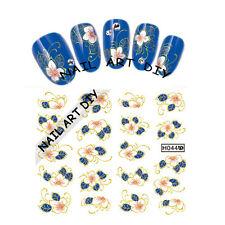 20 Nail Art Stickers water transfer-Adesivi FIORI Bianci con Foglie Blu !!!