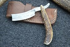 "HUNTEX Handmade Damascus 6.4"" Deer Antler Spanish Blade CutThroat Shaving Razor"