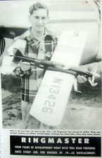 "Vintage RINGMASTER 41"" 1951 UC Stunt Model Airplane PLAN + Construction Article"