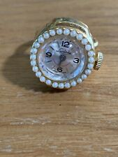 Lucerne Swiss VINTAGE RING Watch FINGER Mechanical  MOVEMENT Faceted Crystal