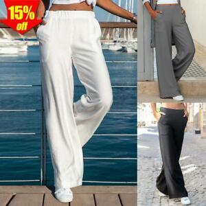 Damen Leinenhose Weites Bein Stoffhose Sommer Baggy Lose Freizeithose Strandhose
