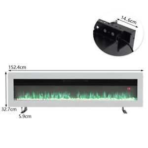 """Electric 50 60"""" Insert/Wall Mounted LED Fireplace Wall Inset Into Fire Freestand"""