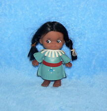 """Vintage Wide Eye Rattle Native American Girl Child 5 1/2"""" Small Doll"""