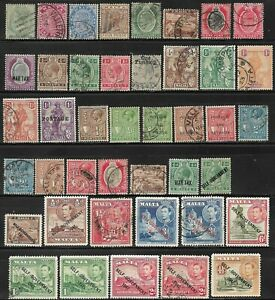 MALTA, Used and Mint Selection. Queen Victoria- King George VI. Good cat. value.