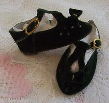 """Doll Shoes 1 3/4"""" Velveteen Green T-Strap With Buckle And Bows U.S. Seller"""