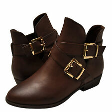 Women's Shoes Bamboo Charm 09 Casual Cut Out Ankle Booties Brown *New*