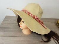SoulCal Ladies Womens Summer Sun Beach Floppy Hat Wide Large Brim Straw Natural