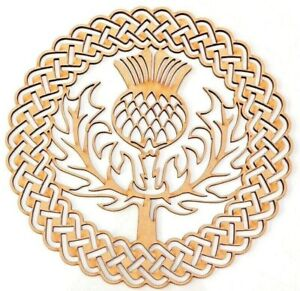 Wooden MDF Plaque Blank shape -Scottish Thistle in Celtic ornamental round frame