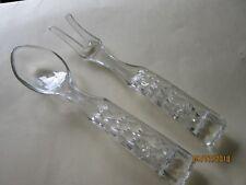 """Glass Vintage Antique 10"""" Fork & Serving Spoon diamond cut glass UNIQUE"""