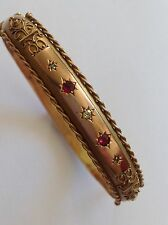 Delightful Edwardian 9ct Gold Etruscan Decorated Ruby & Diamond Set Bangle