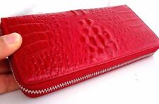 Genuine full leather woman purse wallet zipper Coins bag red crocodile design