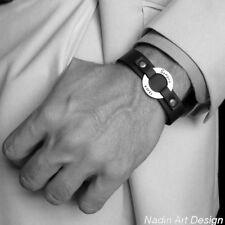 Custom Leather Mens Bracelet. Personalized Washer Wristband. Adjustable. Gift
