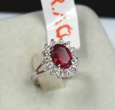 Enchantment Anniversary 18K white gold 4 ct red wedding ceremony ring size 6.5