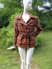 New listing Antique 1930'S Plaid Wool Belted Winter Ski Jacket