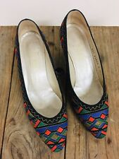 BRUNO MAGLI Vintage Embroidered Geometric Silk Heels / Shoes Ladies Size 36.5