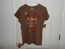 New Halloween Womens Owl*O*Ween Glittered Orange Owl Brown T-Shirt L 12/14 NEW