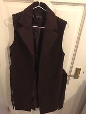 Topshop Burgundy Sleeveless Coat Size 8