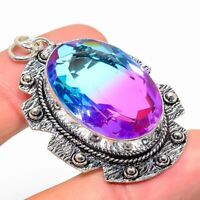"Bi-Color Tourmaline Gemstone Ethnic Handmade Gift Jewelry Pendant 1.97"" JH"