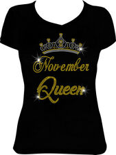November Queen Crown Bling Shirt, Birthday Rhinestone Shirt 11BD6