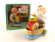 MS 765 Chine Clockwork CHILD BEATING DRUM tôle moteur clé tin toy mint in box