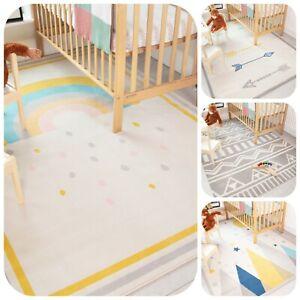 Kids Nursery Rugs Children Bedroom Scandi Minimalist Soft Warm Baby Play Mats UK
