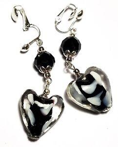 Long Silver Black Heart Clip-On Earrings Glass Bead Drop Dangle Statement Boho