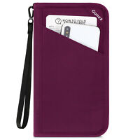 Passport holder RFID Blocking Travel Wallet bag with Removable Wristlet Strap