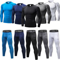 Men's Sports Compression Pants T-Shirt Base Under Layer Workout Leggings Tops G3