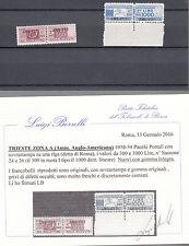 TRIESTE ZONA A 1949/53 PACCHI POSTALI LUSSO CERTIFICATO 300 + 1000 LINEARE MNH**