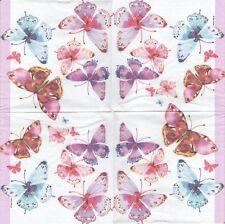 2 Serviettes en papier Papillons Aquarelle - Paper Napkins Aquarell Butterflies