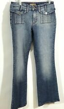 Crest Jeans Womens Blue Denim Size 7/8 Flare Stretch Snap buttons Pockets
