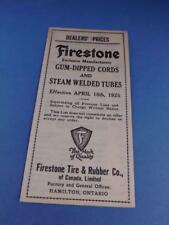 FIRESTONE DEALERS PRICE LIST 1925 GUM DIPPED CORDS STEAM WELDED TUBES CAR TIRES