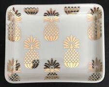 Room & Retreat 5� X 4� White & Gold Ceramic Pineapple Trinket / Ring Dish / Nwt