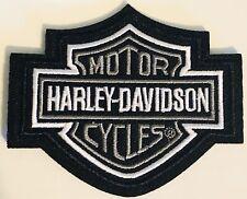 Harley Davidson Silver Logo Iron On / Sew On Patch Vest Jacket Bar & Shield Bike
