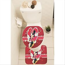 Minnie Mouse Set of 3 Bathroom Rug Set Mat Toilet Lid Cover y70 w0034