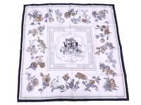 Auth HERMES Carre 90 Quai Aux Fleurs Scarf White/Multicolor 100% Silk - e47367
