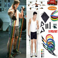 11PCS Resistance Bands Set Rope Home Gym Equipment Workout Fitness Exercise &&