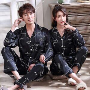 Couple Silk Satin Pajamas Set Men Women Sleepwear Unisex Long Sleeve Loungewear