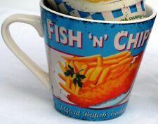 Martin Wiscombe Rétro Fish N Chips conique Mug-Gamme Complète en Stock