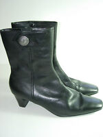 WOMENS BLACK LEATHER CALF HIGH BOOTS HIGH HEELS COMFORT CAREER SHOES SIZE 7 M