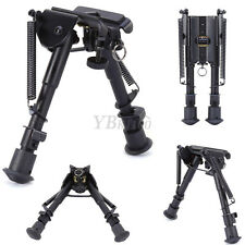 "Black Hunting Rifle Bipod 6"" to 9"" Adjustable Spring Sniper Sling Swivel Mount"