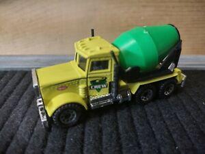 "Matchbox Peterbilt Cement Truck ~ Yellow Cab w/Black Trim & Green Barrel ""CREW'"