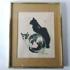 Theophile Steinlen Les Chats Framed Hand Silkscreen #217 French 1859-1923