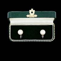 Antique Vintage Art Deco Sterling 925 Silver Faux Pearl Stud Screw On Earrings