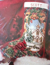 Candamar 30788 CARDINAL AND CHURCH SCENE Christmas Stocking Kit ~ Sealed
