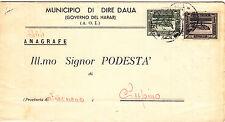 SOMALIA 1936 DIRE DAUA C. 10/15 SU DOCUMENTO ANAGRAFE VIAGGIATA SUPINO FROSINONE